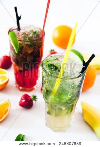 Tradition Summer Drink Mojito With Lime And Mint, A