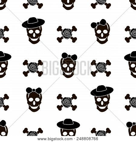 Seamless Pattern With Black Skulls, Roses And Bones On The White Background. Vector Illustration
