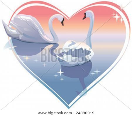 Romantic swans couple, sunset in a heart shape. Vector illustration