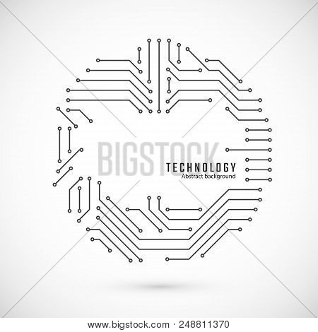 Abstract Technology Background.  Print Of Circuit. Circuit Board Texture. Vector Illustration