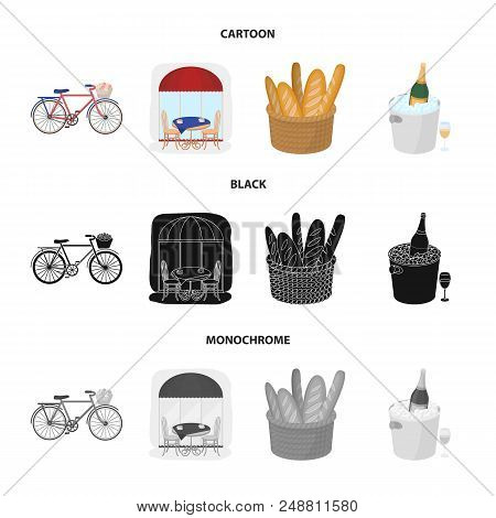 Bicycle, Transport, Vehicle, Cafe .france Country Set Collection Icons In Cartoon, Black, Monochrome