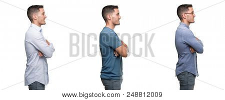 Handsome young man wearing different outfits looking to side, relax profile pose with natural face with confident smile.