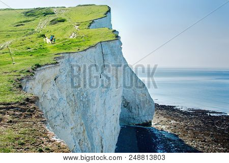 View Of The White Chalk Cliffs In The Morning, Seaford, East Sussex, England, Part Of Seven Sisters