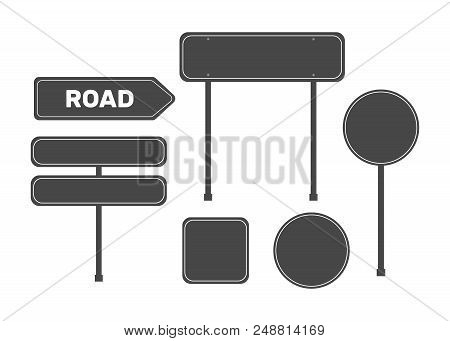 Green Road Sign Set. Sign Street. Road Green Vector Sign. Arrow Blank Sign