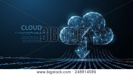 Cloud Technology. Polygonal Wireframe Cloud Storage Sign With Two Arrows Up And Down On Dark Blue Wi