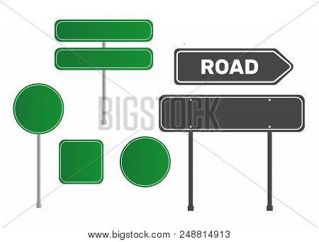 Green Empty Arrow Road Sign. Sign Street. Road Green Vector Sign. Arrow Blank Sign