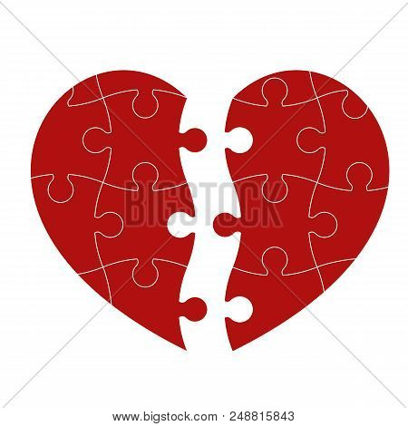 Red Puzzle Heart Isolated On White Background. Vector Illustration.