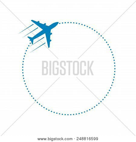 Plane And Its Dotted Round Path On White Background. Vector Illustration.