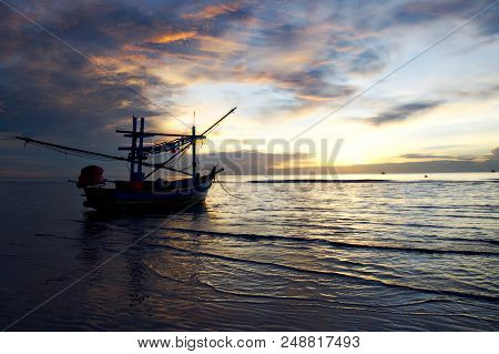 Golden Hour In Thailand, Boat On The Foreground Of Magic Sunrise In Huahin