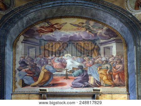 MANTUA, ITALY - JUNE 04: Death of Virgin Mary, altarpiece in Mantua Cathedral dedicated to Saint Peter, Mantua, Italy on June 04, 2017.