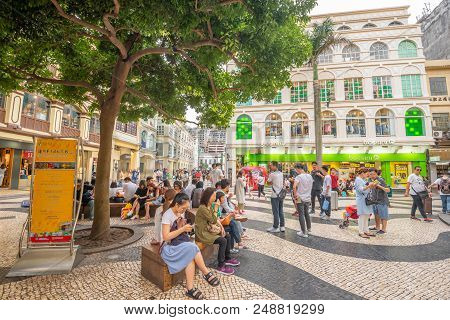 Macua- May 2,2018 : Historic Centre Of Macau-senado Square In Macau, China. The Historic Centre Of M