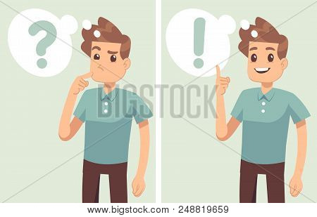 Smart Young Man, Student Thinking, Understands Problem And Finds Successful Solution, Vector Cartoon