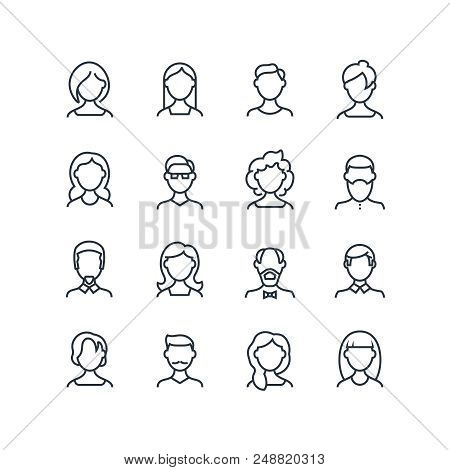 Woman And Man Face Line Icons. Female Male Profile Outline Symbols With Different Hairstyles. Vector