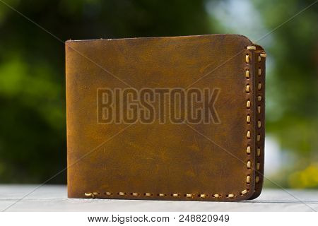 The Leather Wallet Natural Background On Wood Table