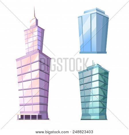 Set Of Skyscraper Glass Buildings Isolated On White. Traditional Attribute Of Big Cities For Living