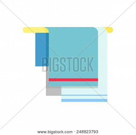 Blue Towels With Decorative Colorful Lines Hanging On Towel Rail. Vector Illustration Of Bathroom St