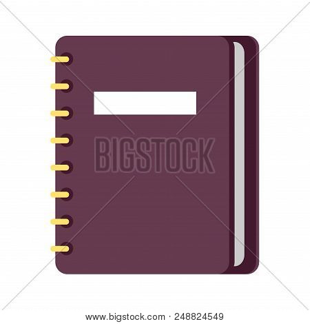 Diary On Ring Binders Flat Style Vector Icon Isolated On White Background. Personal Business Organiz