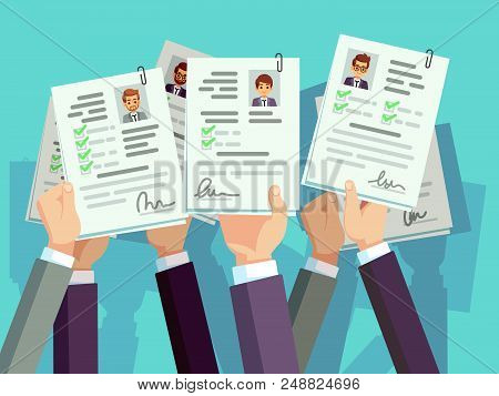 Job Competition. Candidates Hold Cv Resume. Recruitment And Human Resource Vector Concept. Illustrat