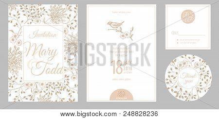 Wedding Invitation Cards And Cover. Invite, Thank You, Rsvp Templates. Decoration With Garden Flower