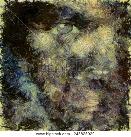 Abstract painting. Woman's face silhouette. Brush strokes in muted colors. 3D rendering