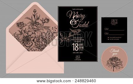 Wedding Invitation Cards And Cover. Invite, Thank You, Rsvp Templates. Decoration With Flowers Peoni