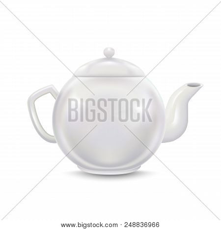 Realistic Detailed 3d Template Blank White Ceramic Teapot Mock Up On A Background . Vector Illustrat