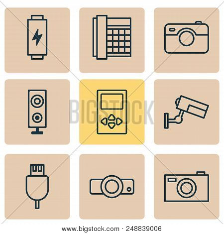 Device Icons Set With Media Device, Loudspeaker, Battery And Other Universal Serial Bus Elements. Is