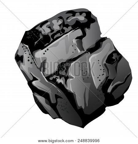 A Fragment Of Stone Coal. The Source Of Energy And Useful Minerals Isolated On White Background. Vec