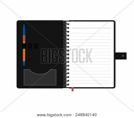 Open Diary Or Personal Organizer With Empty Pages And Pen. Isolated On White Background Daily Planne