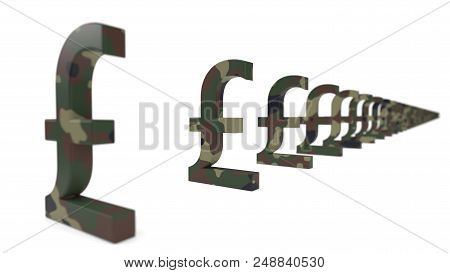 Pound Currency Sign With Army Camouflage Paint. Economy War Concept. Suitable For Economy, Finance,