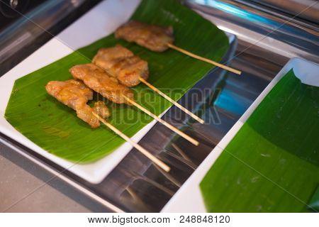 Grilled Pork Served On Banana Leaf, Thai Food