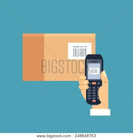 Vector Illustration Male Hand Holding Mobile Bar Code Scanner Or Reader Scan A Bar Code On A Papercr