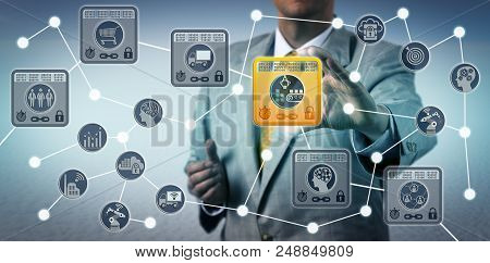 Unrecognizable Corporate Manager Securing Data Integrity Of Supply Chain Via Internet Of Things Solu