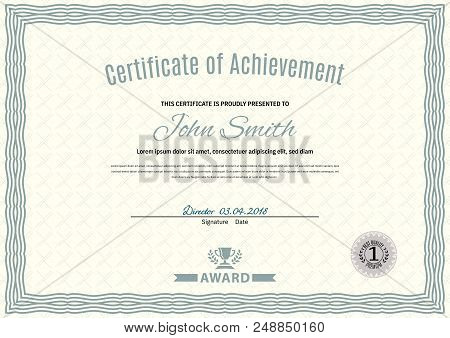 Official White Certificate Of A4 Format With Green Guilloche Border. Official Simple Blank.