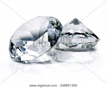 Beautiful Shiny Diamonds, Isolated On White Background. Clear Or Transparent Diamonds, Close-up Shot
