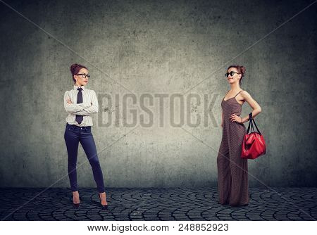Young Woman In Two Different Outfits Showing Informal And Formal Clothes For Housewife And Businessw