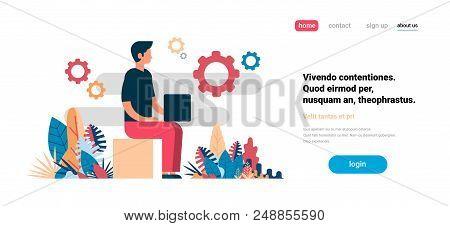 Man Using Laptop Working Process Cogwheel Background Flat Horizontal Copy Space Vector Illustration
