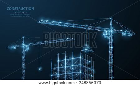 Construction. Polygonal Wireframe Building Under Crune On Dark Blue Night Sky With Dots, Stars. Cons
