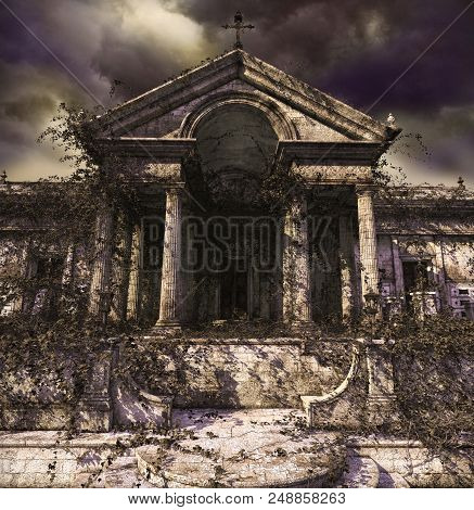 Doorway To Creepy, Haunting, Decaying Ruins Of An Ancient Temple, Church, Tomb Or Mausoleum, Covered