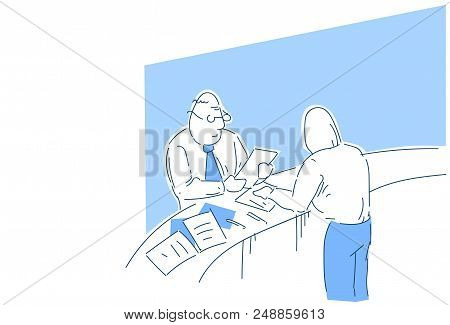 Boss Reading Job Applicant Resume Checking Work Experience During Interview In Office Recruiter Or E