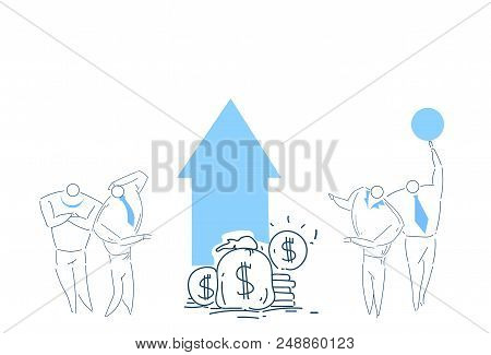 People Group Brainstorming Growth Wealth Money Working Together Process Strategy Concept Sketch Dood