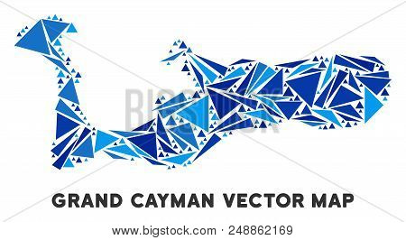 Grand Cayman Island Map Mosaic Of Blue Triangle Elements In Various Sizes And Shapes. Vector Triangl