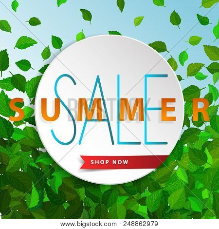 Sale Summer Poster With Green Falling Leaves On Background. Advertisement Banner With Sd Effect Elem