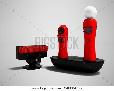 Modern Red Joysticks Navigational And Black Camera For Game Console 3d Render On Gray Background Wit
