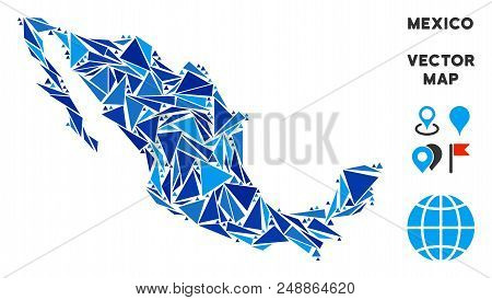 Mexico Map Collage Of Blue Triangle Elements In Various Sizes And Shapes. Vector Polygons Are United