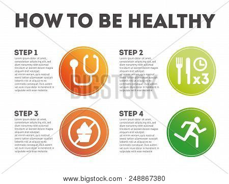 How To Be Healthy. Infographic How To Be Healthy. Steps How To Be Healthy. Four Steps How To Be Heal