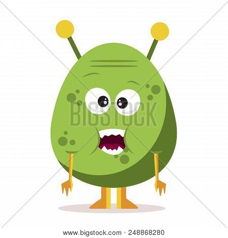 Cute Cartoon Monster Isolated On White Background.cartoon Monster Avatar. Halloween Concepr. Vector