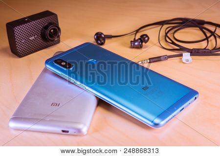 Barcelona, Spain. July 10: Xiaomi Sales Success Redmi Note 5 Smartphones, Headphones And Yi 4k Actio