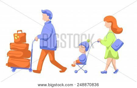 Traveling Family With Child And Luggage Trolley, Modern Flat Vector Illustration. Family Leaving To