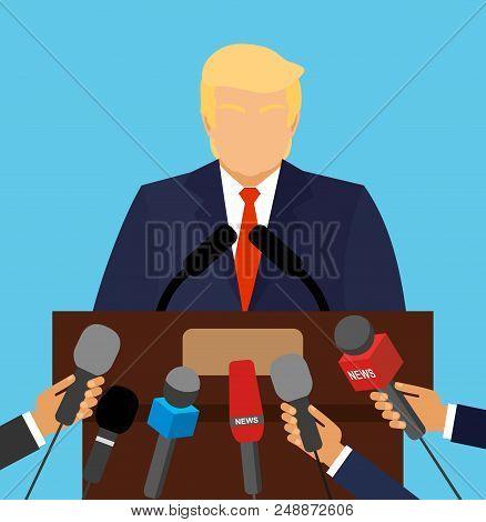 September 20, 2017. Donald Trump President Of America At The Podium Gives A Speech. Vector Cartoon C